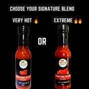 Choose your heat rating Signature Blend Hot Sauce